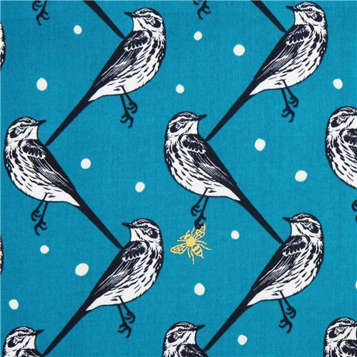 blue atori bird echino Decoro cotton sateen fabric