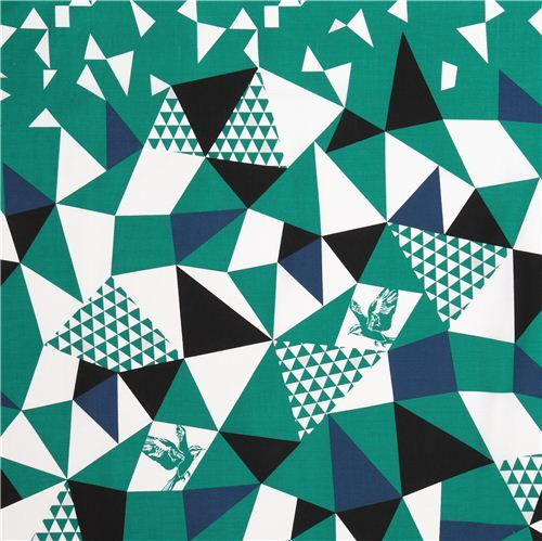 mountain green triangle echino Decoro cotton sateen fabric