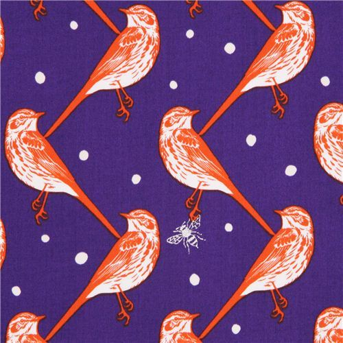 purple atori bird echino Decoro cotton sateen fabric