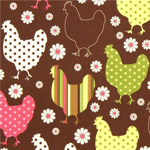 brown organic fabric chicken & flower by Robert Kaufman