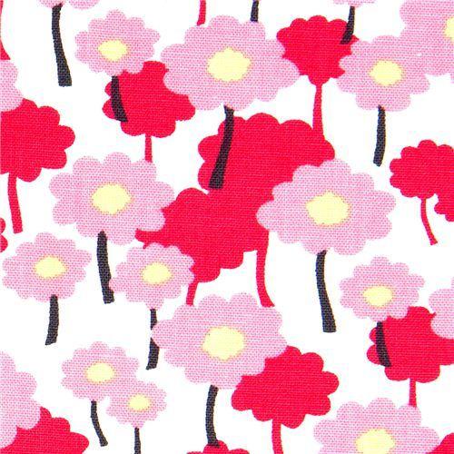 white organic fabric pink flowers Robert Kaufman
