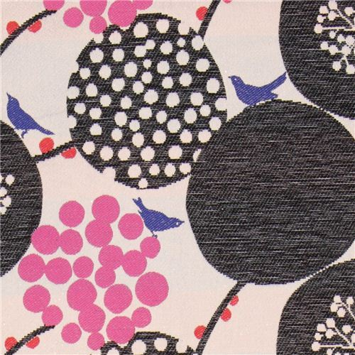 big berry Jacquard echino fabric black from Japan