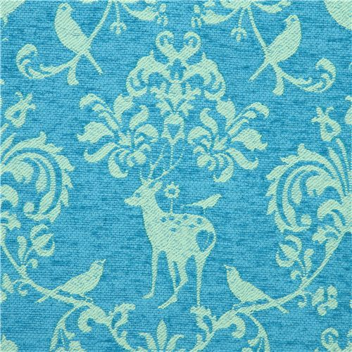 blue Jacquard echino fabric woodland stag deer bird