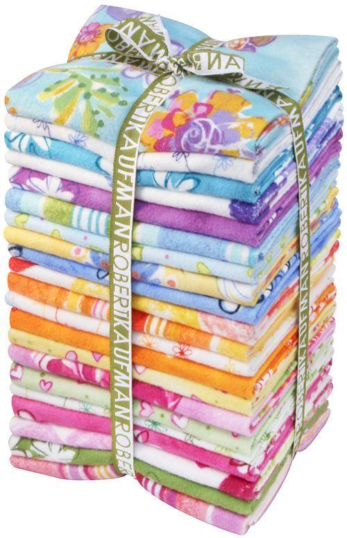 Fat Quarter flannel fabric bundle Daisy Love Robert Kaufman