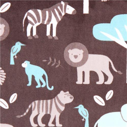 jungle animal minky fabric fleece plush grey Jungle Tales