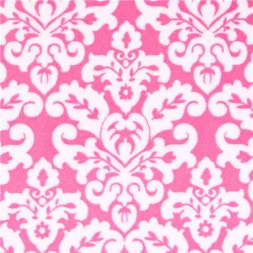 pink ornament minky fabric fleece plush Damask