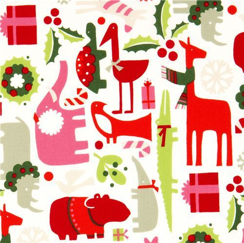 white Christmas fabric animals mistletoe Alexander Henry