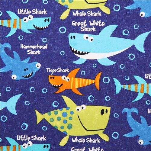 blue funny shark fabric Shark Attack Northcott Studio