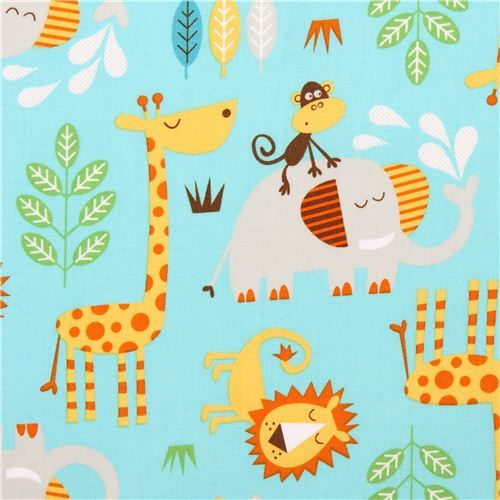 turquoise Safari animal fabric by Northcott Studio