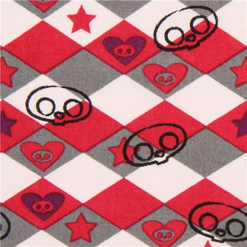 Skelanimals argyle pattern skull fabric from the USA
