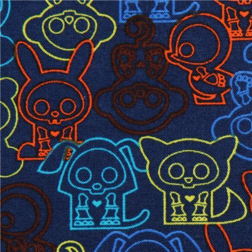 dark blue Skelanimals animal skeleton fabric from the USA