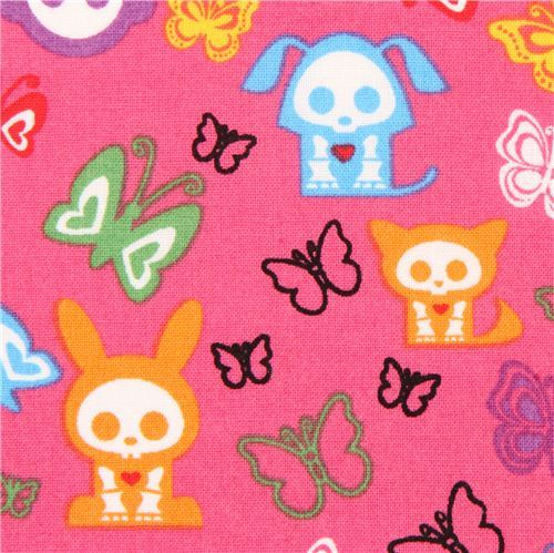 pink Skelanimals animal skeleton fabric butterfly USA