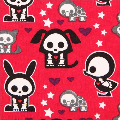 red Skelanimals animal skeleton fabric star heart USA