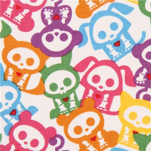white Skelanimals colourful skeleton animal fabric USA