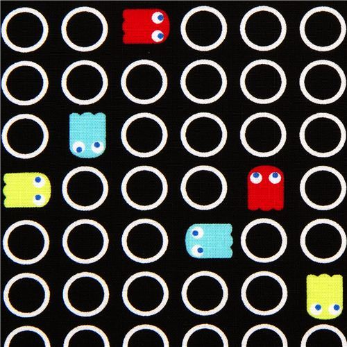 black designer fabric for boys with little comic ghosts