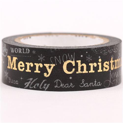 black Merry Christmas Christmas mt Washi deco tape gold metallic