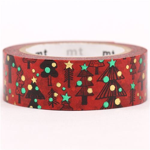 red Christmas mt Washi deco tape Christmas tree gold metallic