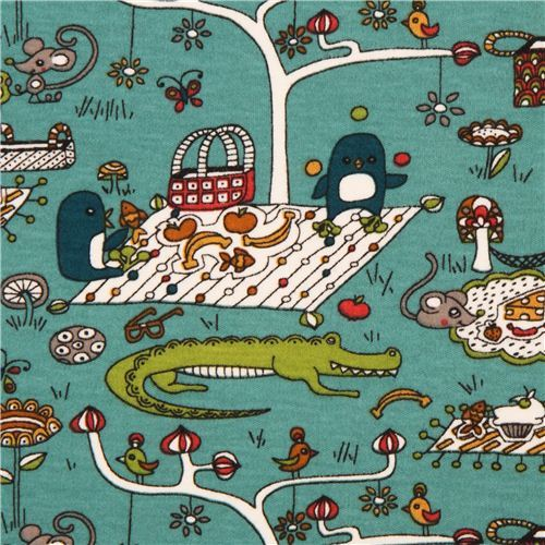 blue grey 'picnic' crocodile & penguin flower birch knit organic fabric USA