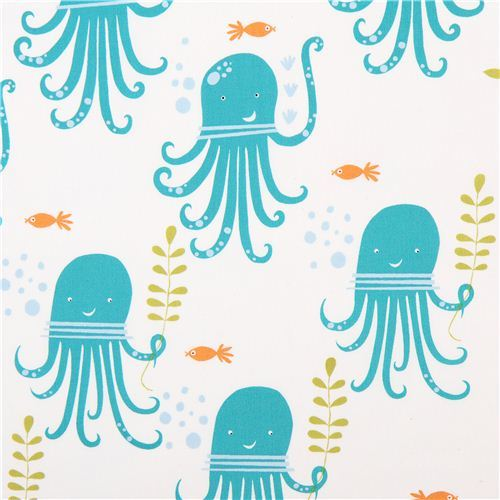white monaluna sea animal organic fabric octopus party