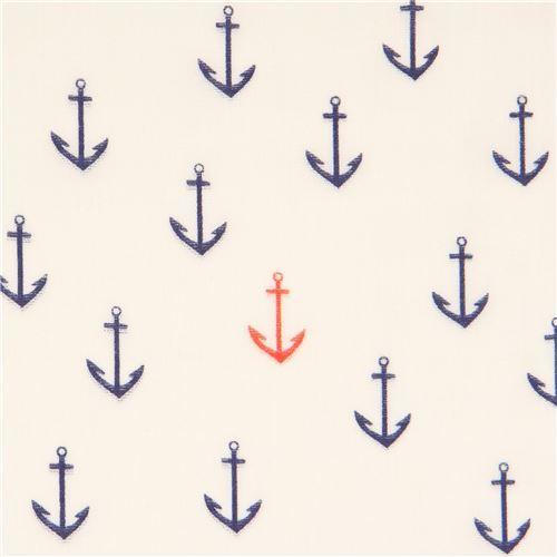 light cream navy blue orange anchor birch Double Gauze organic fabric USA