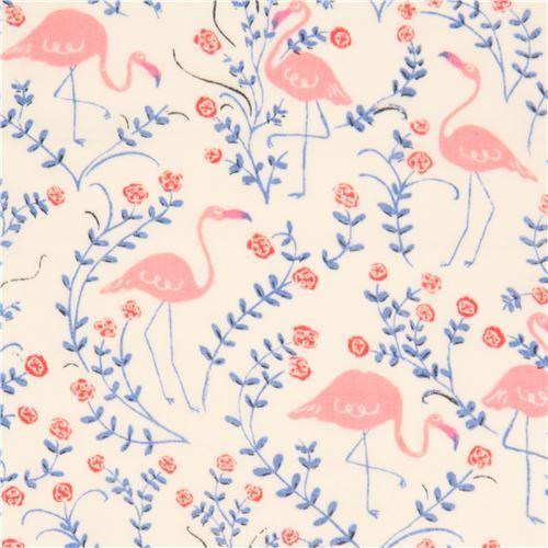 light cream with pink flamingo flower birch Double Gauze organic fabric USA