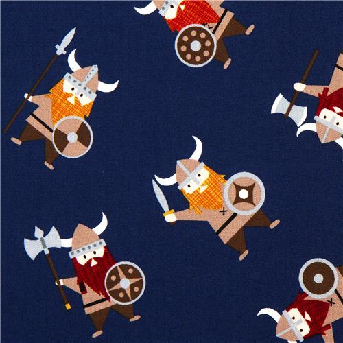 navy blue viking organic fabric with many vikings USA