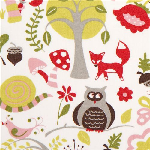 white monaluna organic fabric with fox owl frog toadstool