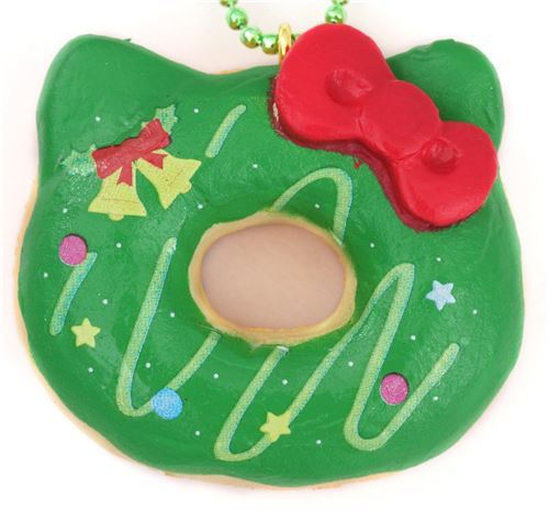 small green Hello Kitty Christmas donut squishy charm for cellphone or bag