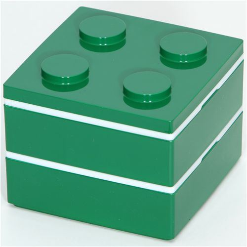 funny green Lego brick Bento Box from Japan