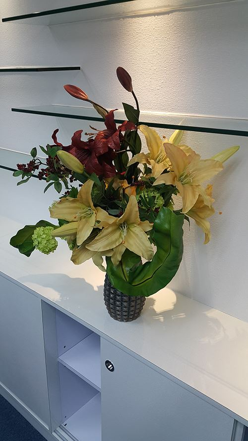 A flower arrangement for our new conference room!