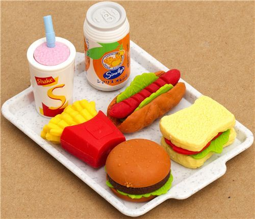 Iwako erasers Fast Food Japan 6 pieces set