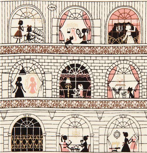 white girls in windows oxford fabric by Kokka