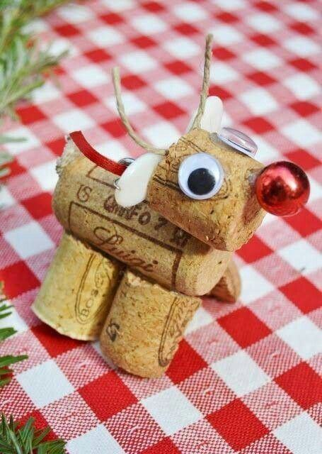 Super cute cork reindeer on Pinterest