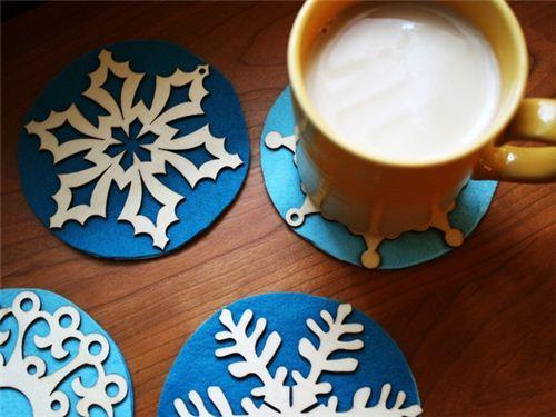 Snowflake coasters on Pinterest