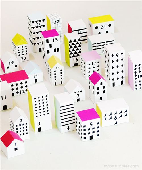 Great idea: Advent calendar city by mrprintables.com