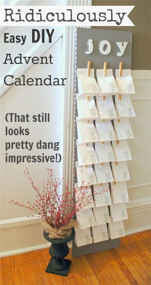 pretty clothes-peg and paper bag advent calendar by creeklinehouse.com