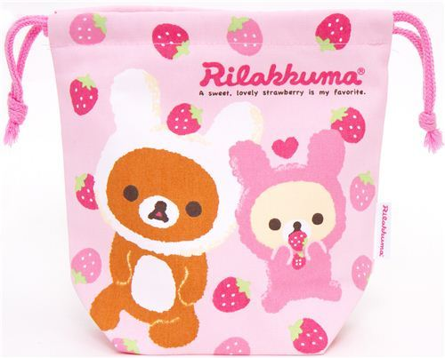 Rilakkuma as bunny bento pouch bag with strawberry