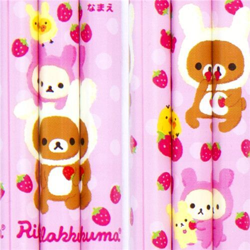 Rilakkuma as bunny pencil set 3pcs with stawberries