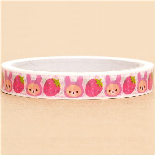 Rilakkuma bear Deco Sticky Tape strawberry rabbit