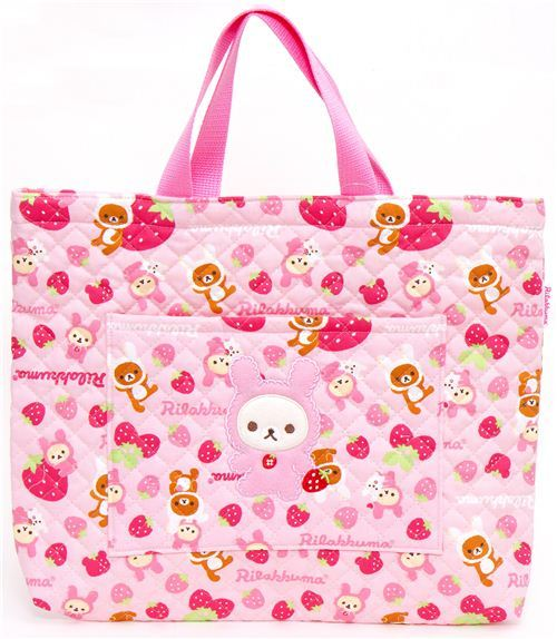 kawaii Rilakkuma bear as bunny handbag with strawberry