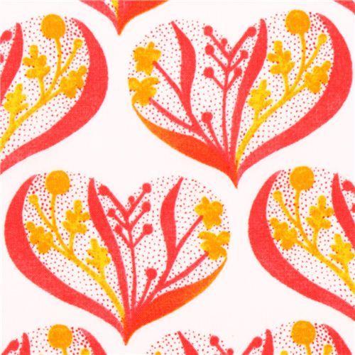 Cloud 9 pink hearts organic fabric Alegria