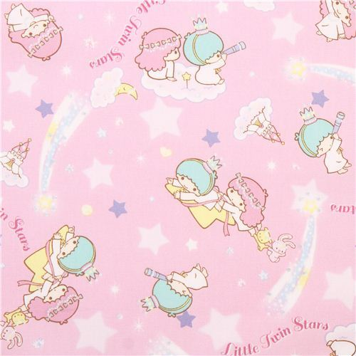 pink Little Twin Stars stars castle in the clouds laminate fabric from Japan