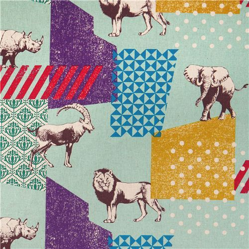 turquoise echino zon canvas laminate fabric pattern safari animals from Japan