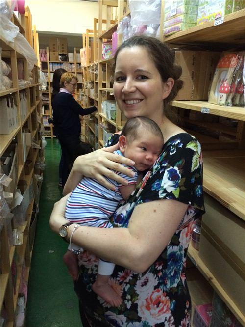 Sandra and little Mason in the modes4u warehouse