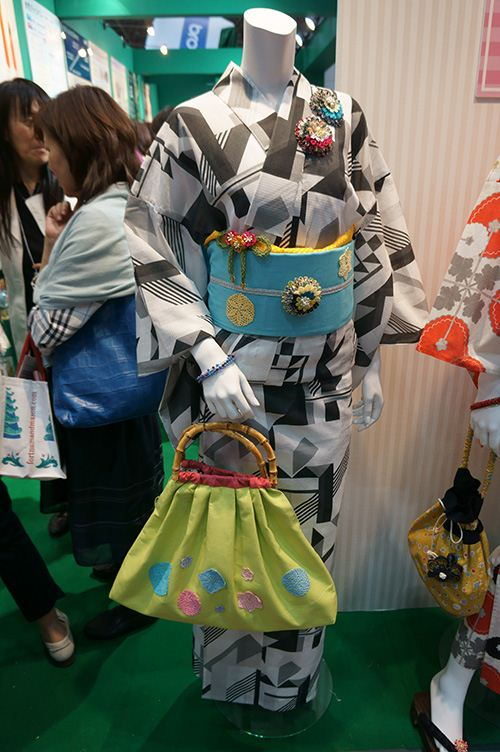 This traditional Japanese handbag is worn for 'Hanabi' the summer fireworks.