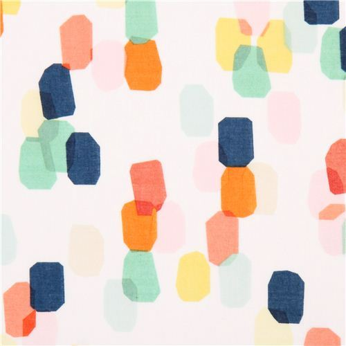 white 'Shine Bright' colorful bright spot Cloud 9 Voile organic cotton fabric