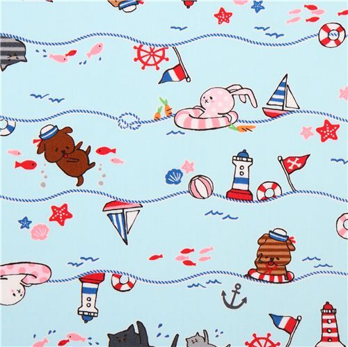 light blue animal sailor oxford fabric by Kokka from Japan