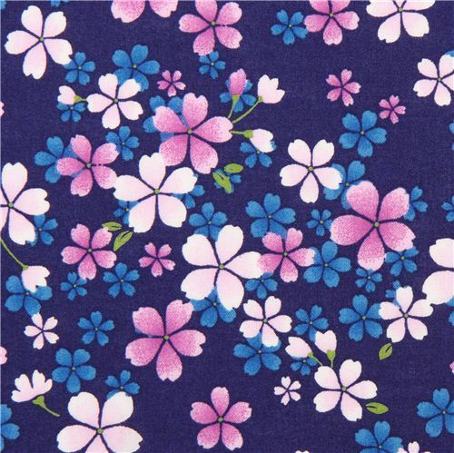 navy blue Asia fabric with purple and pink cherry blossom from Japan
