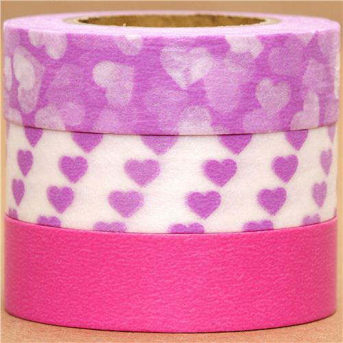 Washi Masking Tape deco tape set 3pcs with hearts