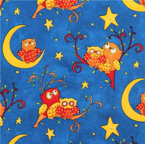 blue night owl children fabric Rhyme Time